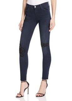 J Brand Mid Rise Skinny Beaded Distressed Jeans in Ultimate - 100% Bloomingdale's Exclusive