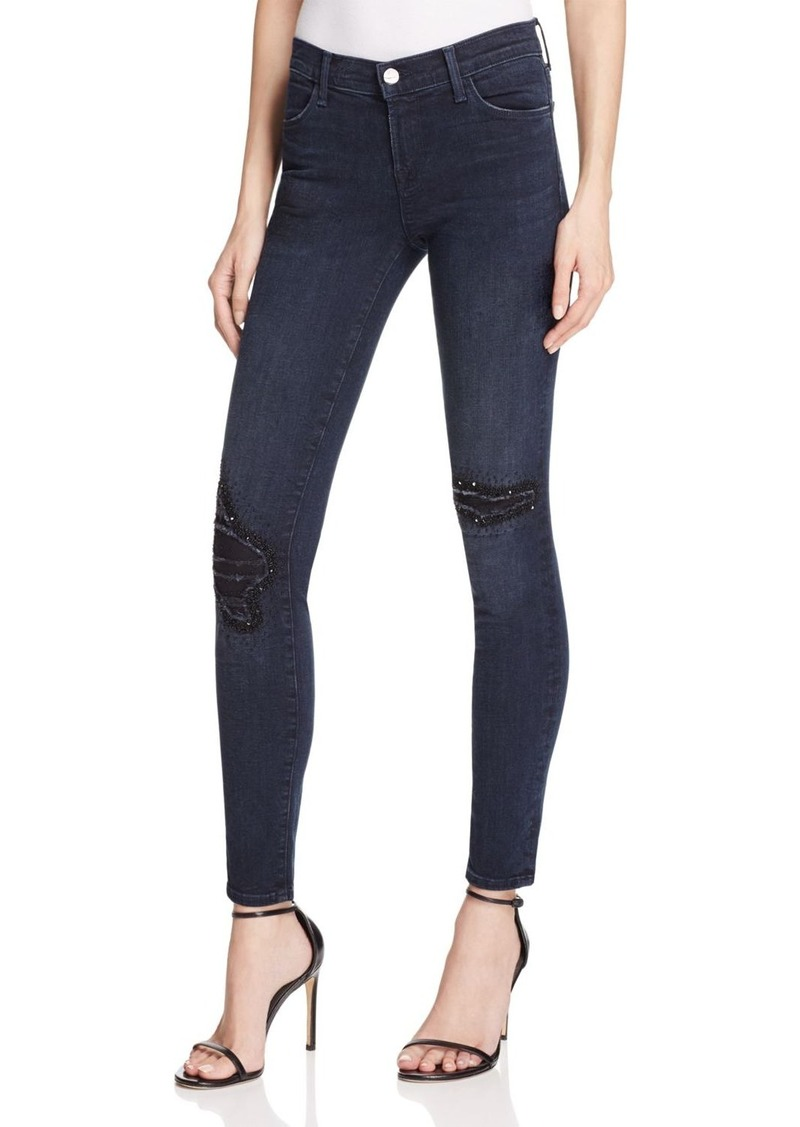 J Brand Mid Rise Skinny Beaded Distressed Jeans in Ultimate - 100% Exclusive