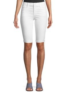 J Brand Mid-Rise Skinny Bermuda Shorts  Blanc