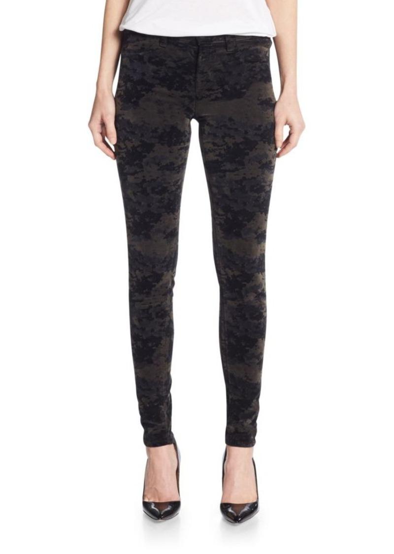 J BRAND Mid-Rise Super Skinny Luxe Velveteen Camo-Print Jeans