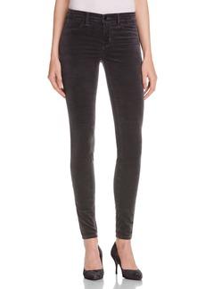 J Brand Mid Rise Velvet Skinny Jeans in Asphalt - 100% Exclusive