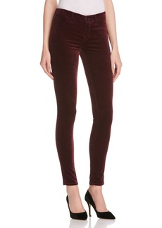J Brand Mid Rise Velvet Skinny Jeans in Mulberry - 100% Exclusive