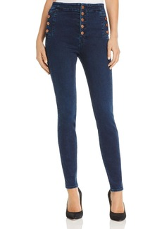 J Brand Natasha Button Sky High Skinny Jeans in Throne