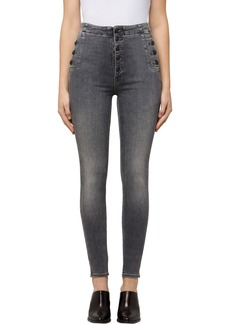 J Brand Natasha Sky High Button Skinny Jeans (Earl Grey)