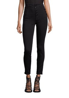 Natasha Sky High-Rise Buttoned Skinny Jeans