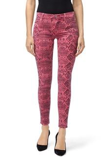 J Brand Neon Pink Boa Print Skinny Jeans