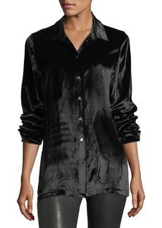 J Brand Nora Button-Front Velvet Shirt