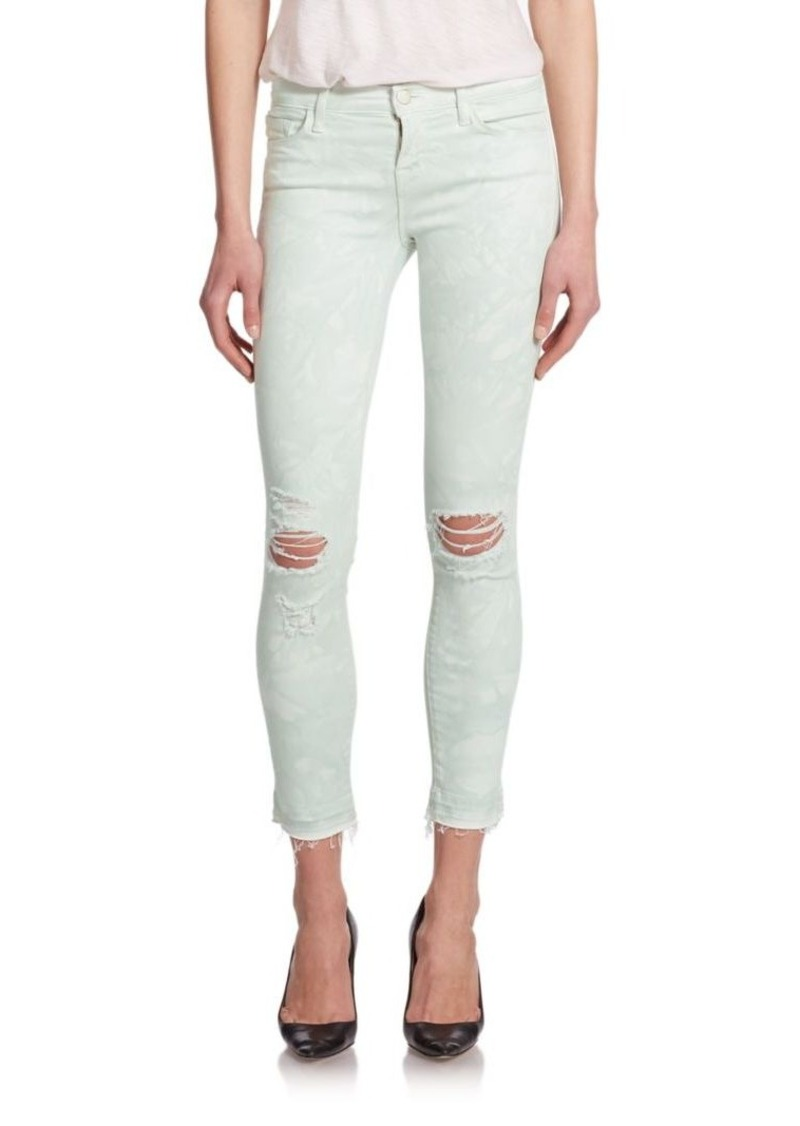 J BRAND Photo Ready Low-Rise Distressed Tie-Dye Ankle Jeans