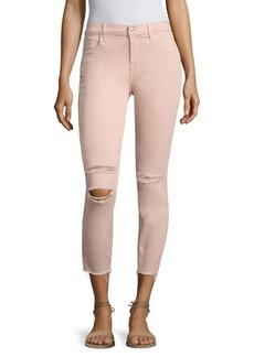 J BRAND Alana Photoready Distressed Frayed Hem Cropped Skinny Jeans/Pink Mercy