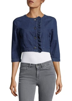J BRAND Quarter-Sleeve Denim Cropped Jacket