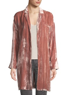 J Brand Regan Velvet Long-Sleeve Duster Jacket
