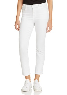 J Brand Ruby High-Rise Cropped Jeans in Blanc