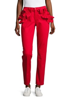 Ruffled Slim-Fit Ankle Jeans/Red