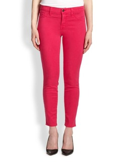 J BRAND Sateen Mid-Rise Cropped Skinny Jeans