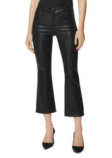 J Brand Selena Coated Cropped Bootcut Jeans in Galactic Black