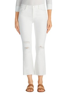 J Brand Selena Distressed Crop Bootcut Jeans (White Mercy)