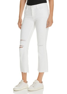 J Brand Selena Mid Rise Crop Boot Jeans in White Mercy