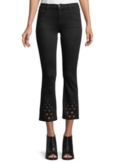 J Brand Selena Mid-Rise Crop Boot Jeans w/ Cutout Detail
