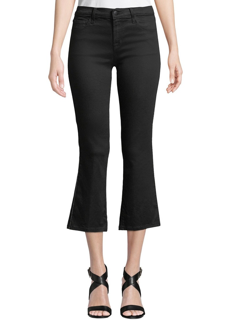 J Brand Selena Mid-Rise Crop Boot Jeans w/ Cutout Detail