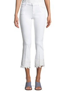 J Brand Selena Mid-Rise Crop Boot Jeans with Lace Hem