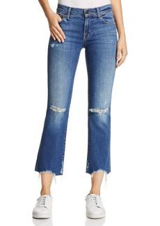 J Brand Selena Mid-Rise Crop Bootcut Jeans in Revoke Destruct