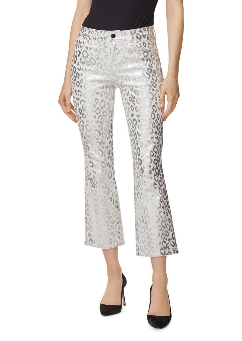 J Brand Selena Mid-Rise Crop Bootcut Jeans in Snow Leopard