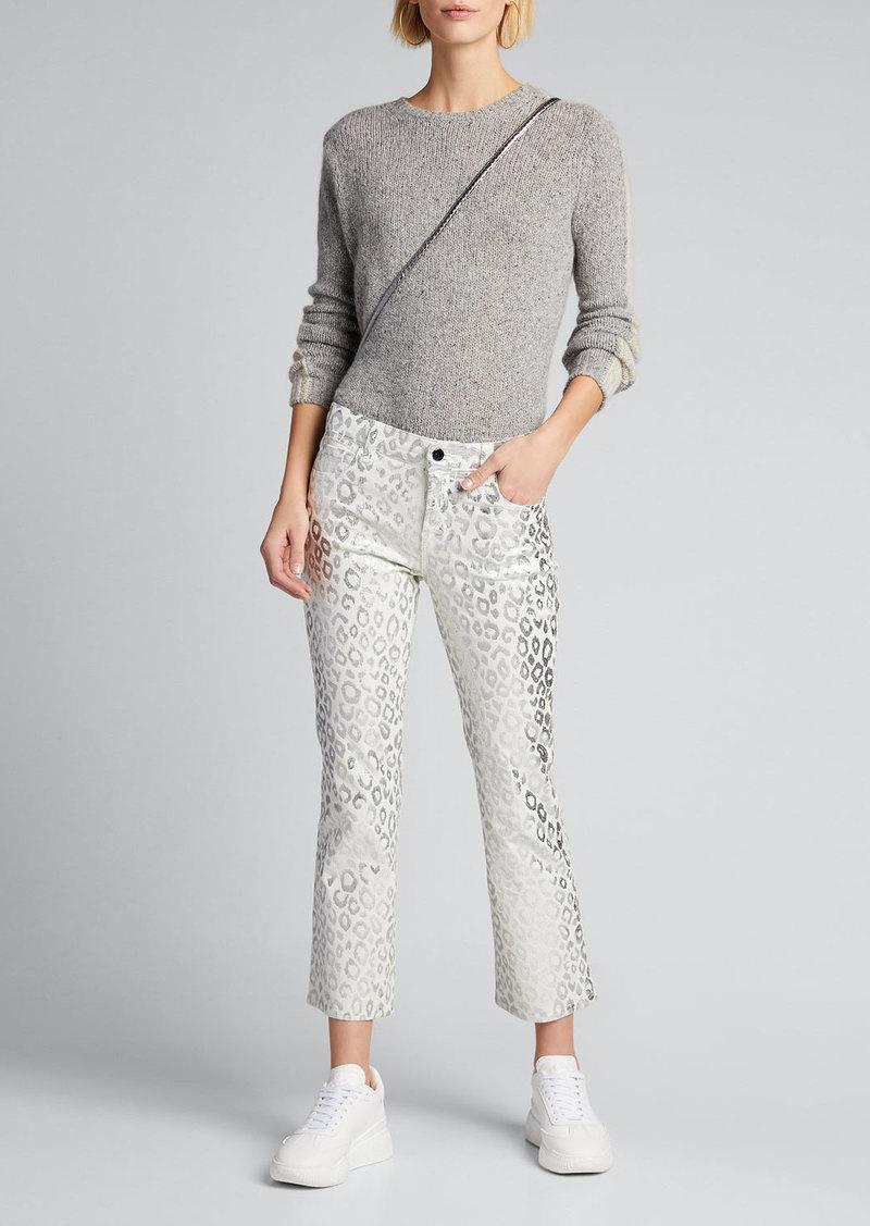 J Brand Selena Mid-Rise Cropped Boot-Cut Corduroy Jeans  Moonbeam