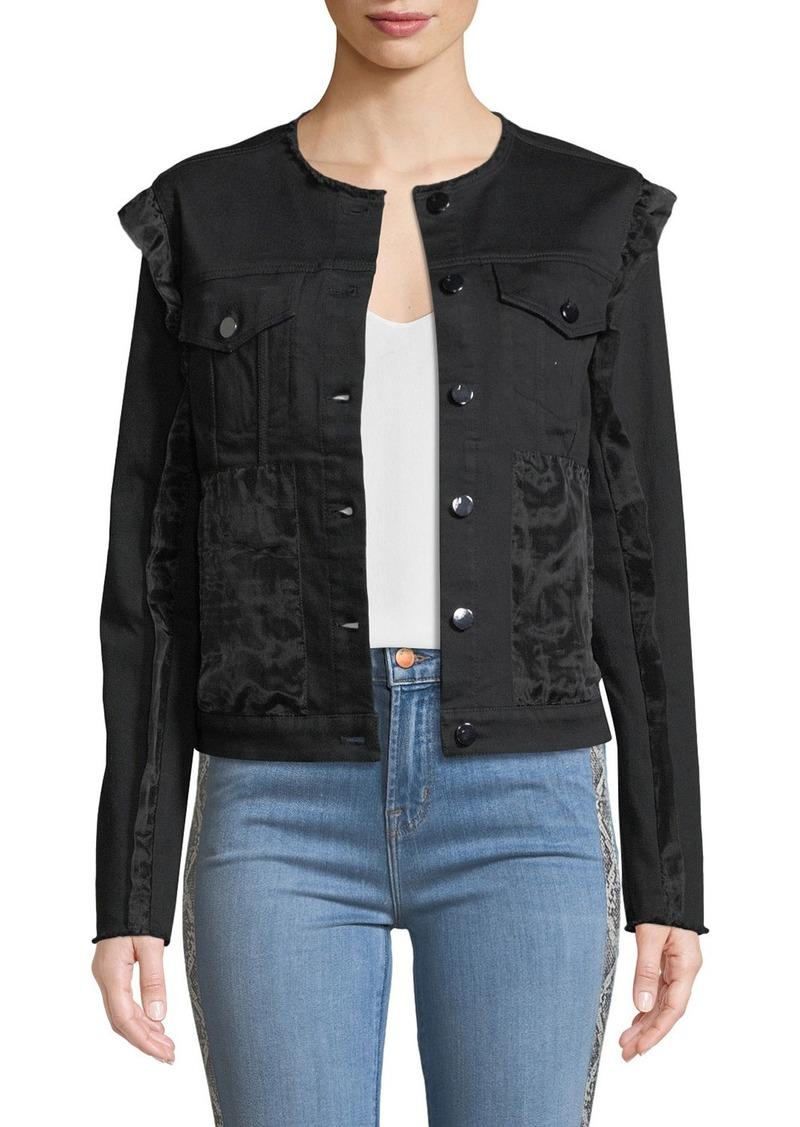 J Brand Slim Cropped Ruffle Denim Jacket