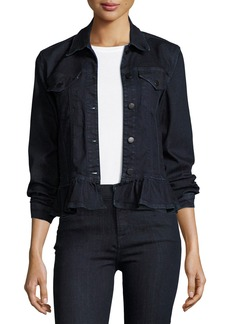 J Brand Slim Denim Jacket W/ Frill