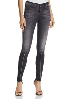 J Brand Super Skinny Jeans with Zippers in Black Heath