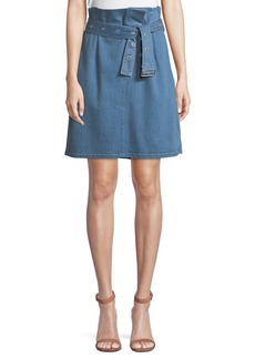 J Brand Tranquil Pleated Belted Denim Skirt