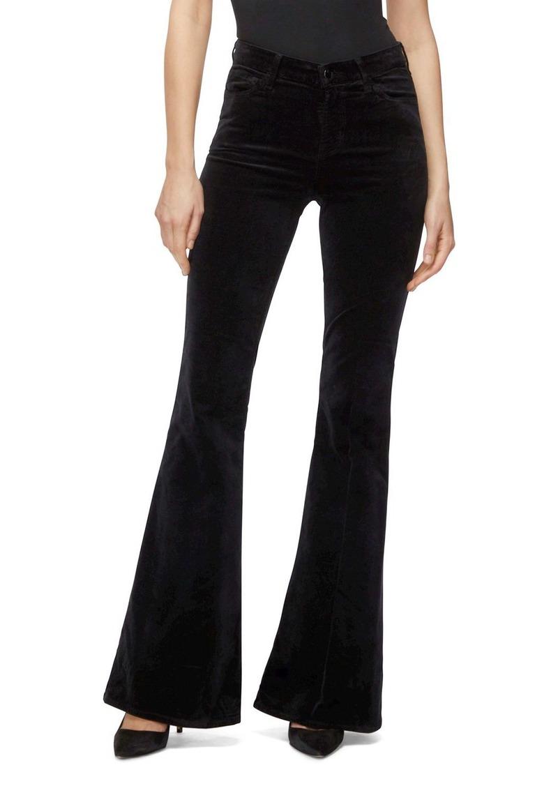 J Brand Valentina Velvet High-Rise Jeans in Black
