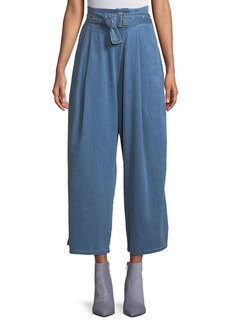 J Brand Via Belted Pleated Wide-Leg Pants