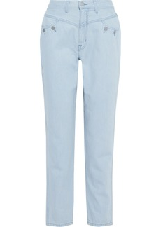 J Brand Woman + Elsa Hosk Playday Button-detailed High-rise Straight-leg Jeans Light Blue