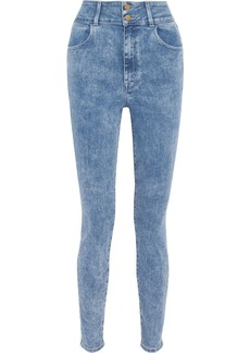 J Brand Woman + Elsa Hosk Saturday Faded High-rise Skinny Jeans Mid Denim