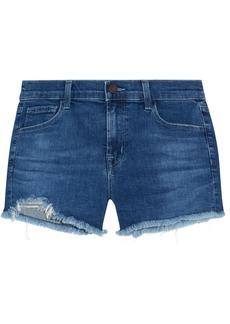 J Brand Woman 1044 Distressed Denim Shorts Dark Denim