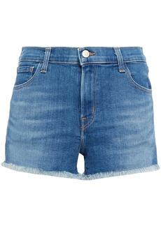 J Brand Woman 1044 Frayed Denim Shorts Mid Denim