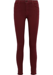 J Brand Woman 620 Coated Mid-rise Skinny Jeans Claret