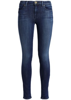 J Brand Woman 620 Faded Mid-rise Skinny Jeans Dark Denim