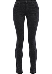 J Brand Woman 620 Snake-print Brushed Mid-rise Skinny Jeans Black