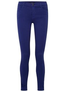 J Brand Woman 620 Super Skinny Distressed Mid-rise Jeans Royal Blue