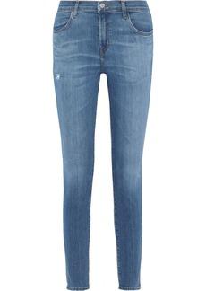 J Brand Woman 620 Zip-detailed Distressed Mid-rise Skinny Jeans Mid Denim