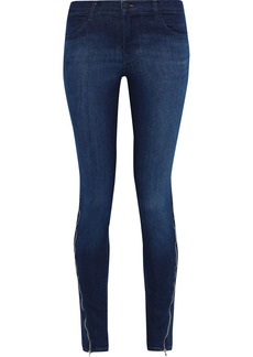 J Brand Woman 620 Zip-detailed Faded Mid-rise Skinny Jeans Dark Denim