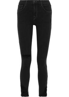 J Brand Woman 811 Distressed Mid-rise Skinny Jeans Black