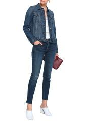 J Brand Woman 811 Distressed Mid-rise Skinny Jeans Dark Denim