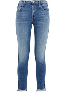 J Brand Woman 811 Distressed Striped Mid-rise Skinny Jeans Mid Denim