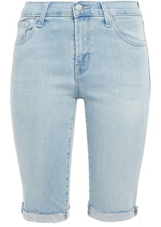 J Brand Woman 811 Frayed Denim Shorts Light Denim