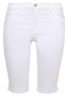 J Brand Woman 811 Frayed Denim Shorts White