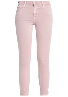 J Brand Woman 835 Cropped Distressed Mid-rise Skinny Jeans Blush