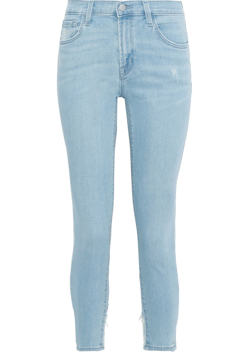 J Brand Woman 835 Cropped Distressed Mid-rise Skinny Jeans Light Denim